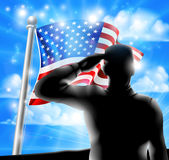 Silhouette Soldier Saluting American Flag Stock Images