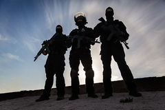 Silhouette of soldier Royalty Free Stock Photo