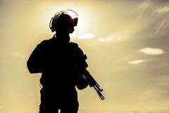 Silhouette of soldier Royalty Free Stock Photography