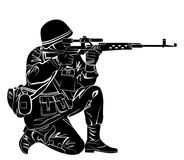 Silhouette of a soldier. Vector illustration of a soldier shooting from the gun Stock Photo