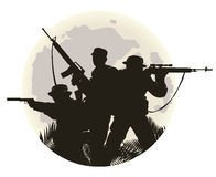 Silhouette of soldiers Royalty Free Stock Image