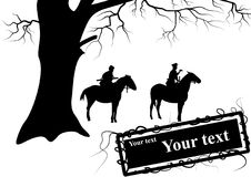 The silhouette of soldiers on horseback Stock Images