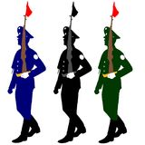 Silhouette soldiers during a military parade. Royalty Free Stock Photography