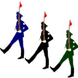 Silhouette soldiers during a military parade. Royalty Free Stock Photo