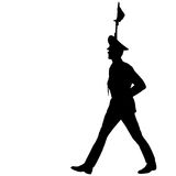 Silhouette soldiers during a military parade. Stock Images