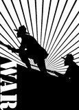 Silhouette of soldiers at war. Silhouette of soldiers at war with 'war' text Royalty Free Stock Photos