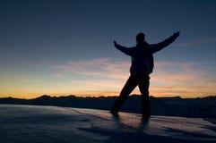 silhouette solnedgången Fotografering för Bildbyråer