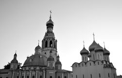 Silhouette of Sophia Cathedral and bell tower. Silhouette of Sophia Cathedral and bell tower in Vologda Kremlin at evening, Russia. Black and white royalty free stock photography