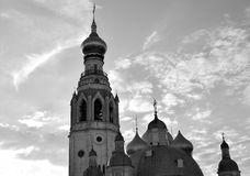 Silhouette of Sophia Cathedral and bell tower. Silhouette of Sophia Cathedral and bell tower in Vologda Kremlin at evening, Russia. Black and white royalty free stock image