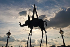 Silhouette Space Elephant Statue Salvador Dali Stock Images