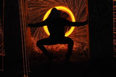 Silhouette sparkling. Forms with steel wool Stock Images