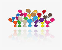Silhouette speak bubble. Color silhouettes of many people and many speak bubbles Royalty Free Stock Image