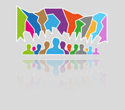 Silhouette speak bubble. Color silhouettes of many people and many speak bubbles Royalty Free Stock Photo