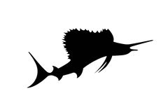 Silhouette of spearfish on white. Black silhouette of spearfish isolate stock illustration
