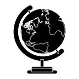 Silhouette sphere world map with base Royalty Free Stock Photography