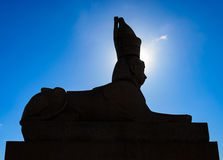 The silhouette of the Sphynx on The University Embankment in the halo of sun light. Saint Petersburg, Russia. The silhouette of the Sphynx on The University royalty free stock image