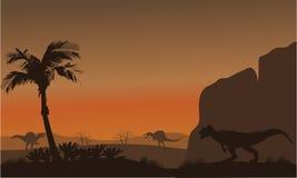 Silhouette of Spinosaurus and Allosaurus Royalty Free Stock Image