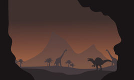 Silhouette of spinosaurus and brachiosaurus Stock Photos