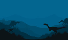 Silhouette of Spinosaurus and Megapnosaurus Stock Images
