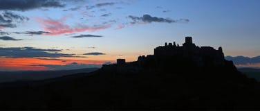 Silhouette of Spissky hrad ( Slovakia ) Stock Image