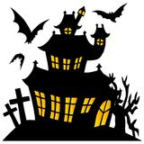 Silhouette spooky house 01 Stock Image