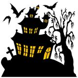 Silhouette spooky house 02 Royalty Free Stock Images