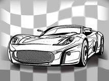 Silhouette of sport car for racing sports. Black sports car ready to start racing on the track Vector Illustration