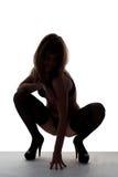 Silhouette sport girl Stock Photos