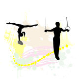 Silhouette of the sport gymnast Stock Photo