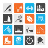 Silhouette Sport objects icons. Vector icon set Stock Photo