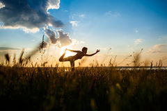 Silhouette of sportive girl practicing yoga in field at sunrise. Royalty Free Stock Photography