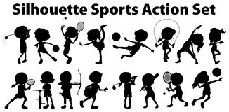 Silhouette sports action set on white background Royalty Free Stock Image