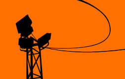 Silhouette of spot lights and electric cable Stock Images