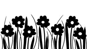 Silhouette of spring flowers and grass Stock Photography