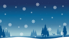 Silhouette of spruce landscape with snowflakes Royalty Free Stock Photo