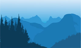 Silhouette of spruce and mountain Royalty Free Stock Photos