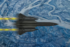 Silhouette of a spy plane. Digital painting with blur/speed effect. A `Blackbird` style 20th century advanced, long-range, Mach 3+ strategic reconnaissance Royalty Free Stock Photos