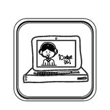 Silhouette square button tech computer with operator call center Stock Photos