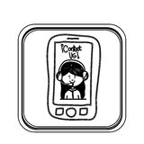 Silhouette square button tech smartphone with woman operator. Vector illustration Stock Photos