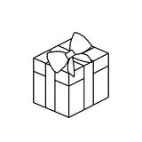 Silhouette square gift box with bow wrapping. Illustration Royalty Free Stock Photo
