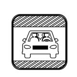 Silhouette square shape traffic sign of car crossing Royalty Free Stock Photos
