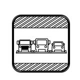 Silhouette square shape traffic sign parking area for cars Stock Image