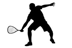 A silhouette of a squash player Stock Image