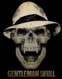 Silhouette squelettique de monsieur dans le costume de smoking, tiré par la main, vecteur illustration stock