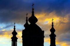 Silhouette of St. Andrew Cathedral in Kiev Royalty Free Stock Images
