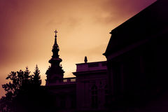Silhouette of St. Michael the Archangel Cathedral at sunset. Bel Royalty Free Stock Photo