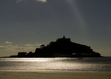 Silhouette of St Michael's Mount, Cornwall, UK. Silhouette of St Michael's Mount in  Cornwall  UK Europe Stock Photography