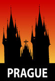 Prague illustration. Silhouette of st. Tyn cathedral, Prague Czech republic Stock Image
