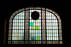 Silhouette Stained Glass. Stained glass window of historical Train Station,Istanbul,Turkey Royalty Free Stock Image