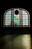 Silhouette Stained Glass. Stained glass window of historical Train Station,Istanbul,Turkey Royalty Free Stock Photography